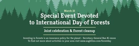 International Day of Forests Event Announcement in Green Twitter Modelo de Design