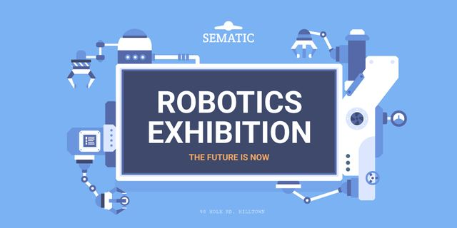 Robotics Exhibition Ad with Automated Production Line Twitter Modelo de Design