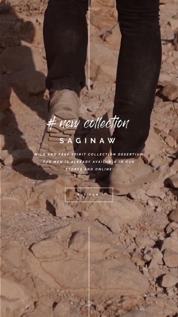 Designvorlage Man in Boots Walking on the Rocks für Instagram Video Story