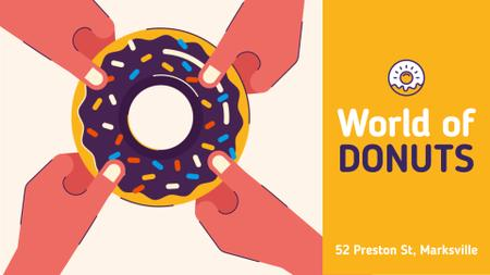 Plantilla de diseño de Donuts Offer People Pulling Sweet Ring Full HD video