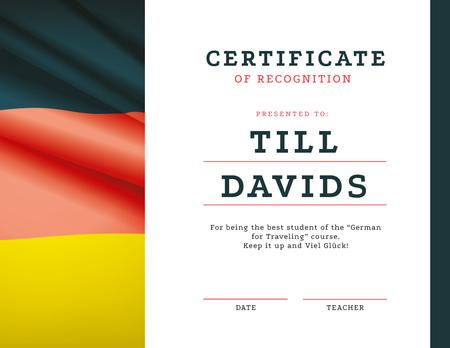German Language courses Recognition with flag Certificate Design Template