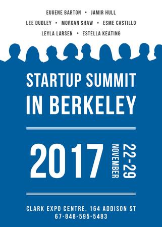 Template di design Startup Summit Announcement Businesspeople Silhouettes Invitation