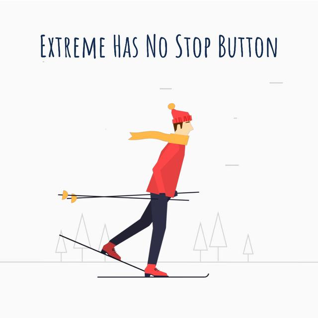 Skier on a snowy slope Animated Post Modelo de Design