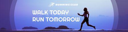Designvorlage Sportclub Ad with running Woman für Twitter