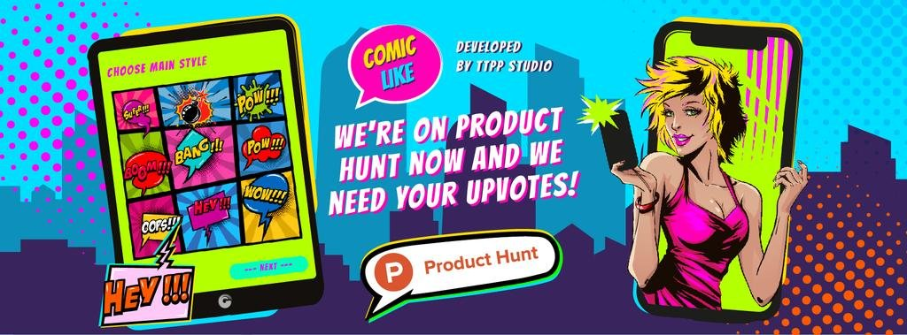 Product Hunt Promotion Girl Taking Selfie on Screen | Facebook Cover Template — Crear un diseño