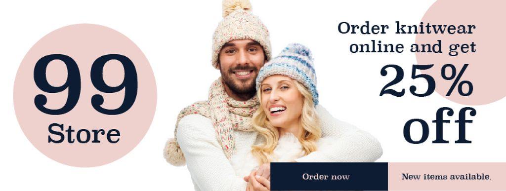 Online knitwear store with smiling Couple — Modelo de projeto