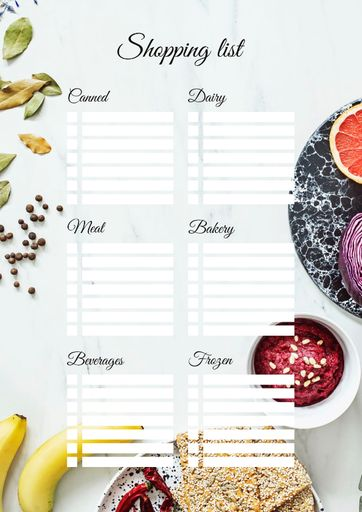 Shopping List With Dishes And Fruits On Table