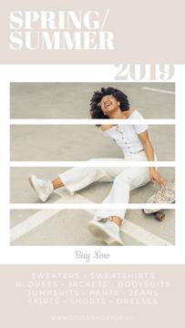 Fashion Ad with African American Girl with Skateboard Video Story