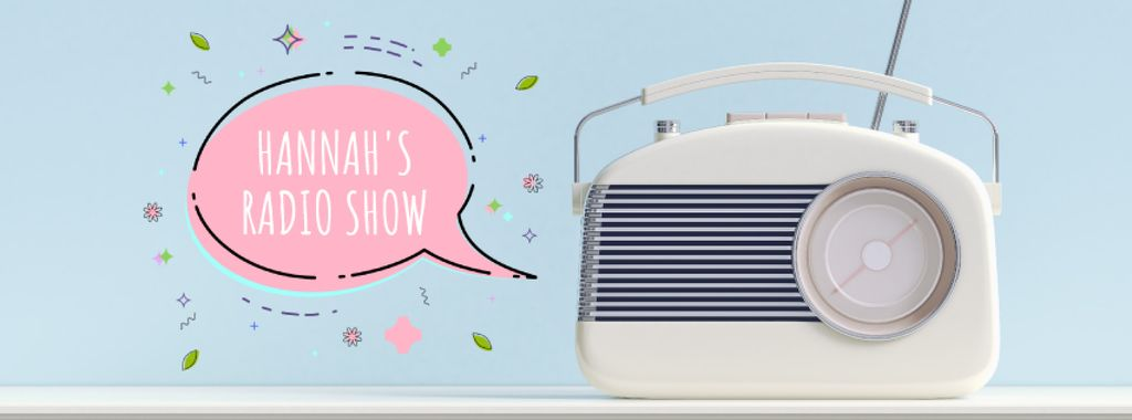 Retro radio with speech bubble — Créer un visuel