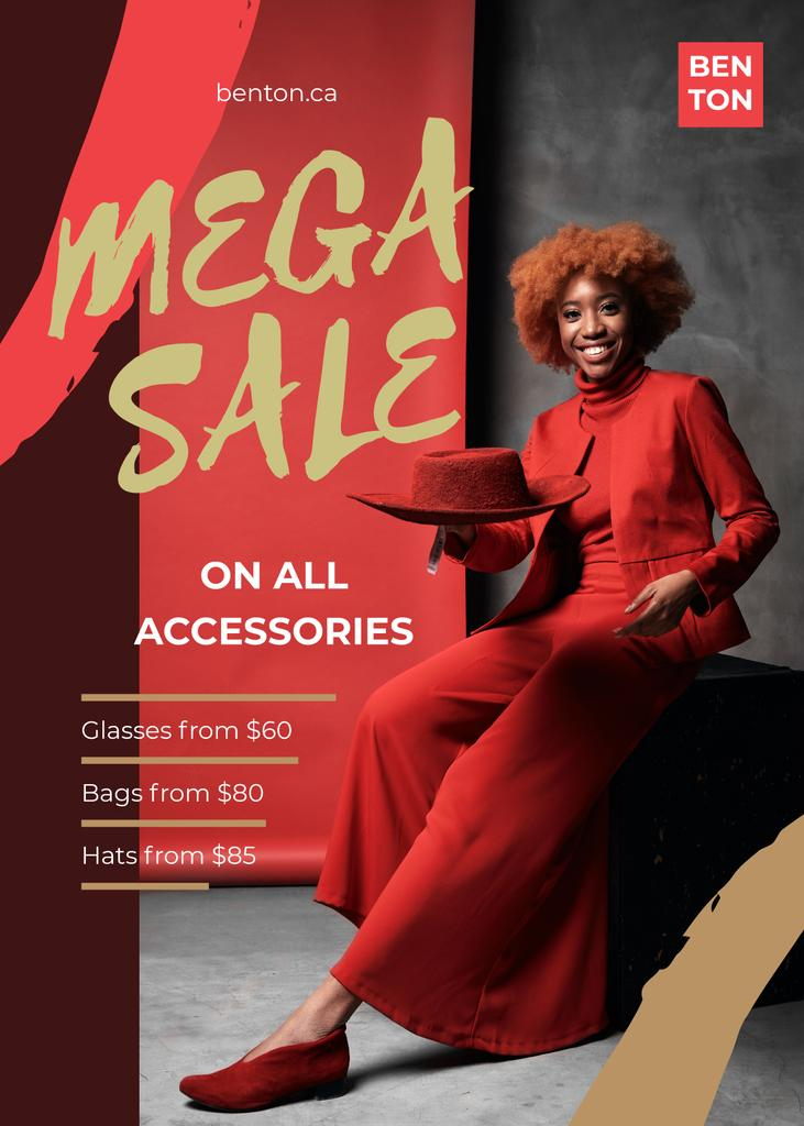 Fashion Sale with Woman Dressed in Red — Créer un visuel