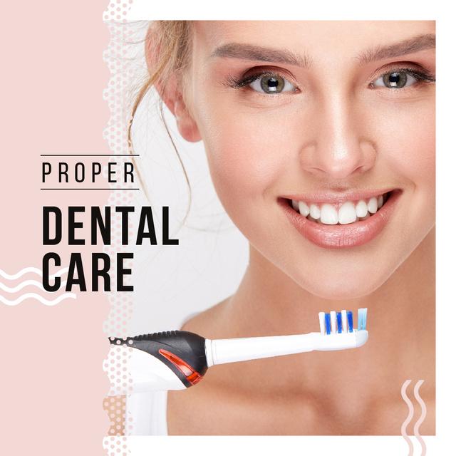 Plantilla de diseño de Woman brushing her teeth Instagram