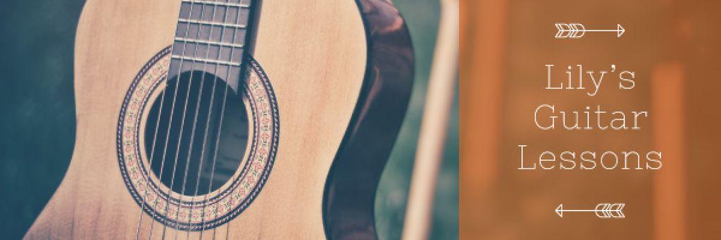 Music Lessons Ad with Wooden Guitar — ein Design erstellen