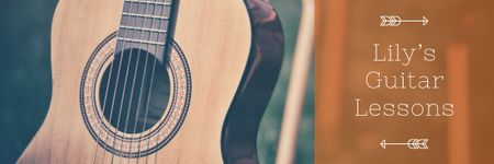 Ontwerpsjabloon van Email header van Music Lessons Ad with Wooden Guitar