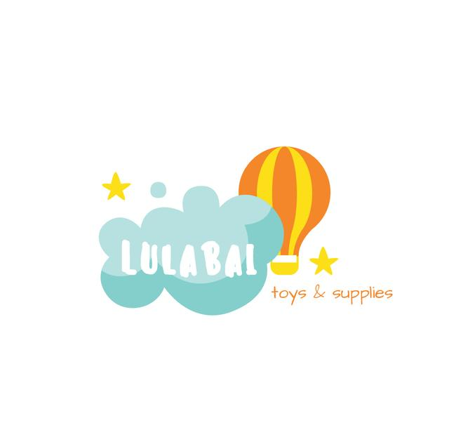 Ontwerpsjabloon van Logo van Kids' Supplies Ad with Hot Air Balloon and Cloud