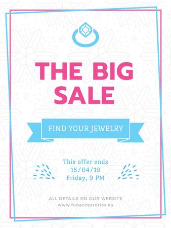 Modèle de visuel Jewelry sale with Ring in blue - Poster US