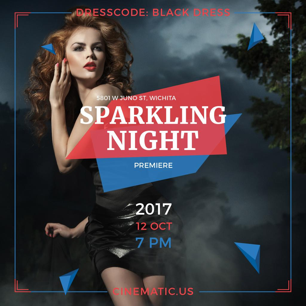 Night Party Invitation Woman in Black Dress — ein Design erstellen