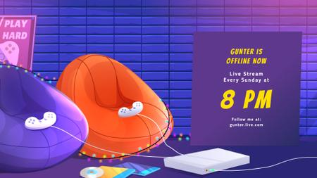 Cozy Room with Video Games Twitch Offline Banner – шаблон для дизайна