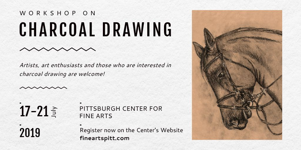 Charcoal Drawing with Horse illustration — Crear un diseño