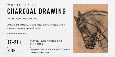 Plantilla de diseño de Charcoal Drawing with Horse illustration Twitter