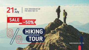 Hiking Tour Sale with Backpackers in Mountains