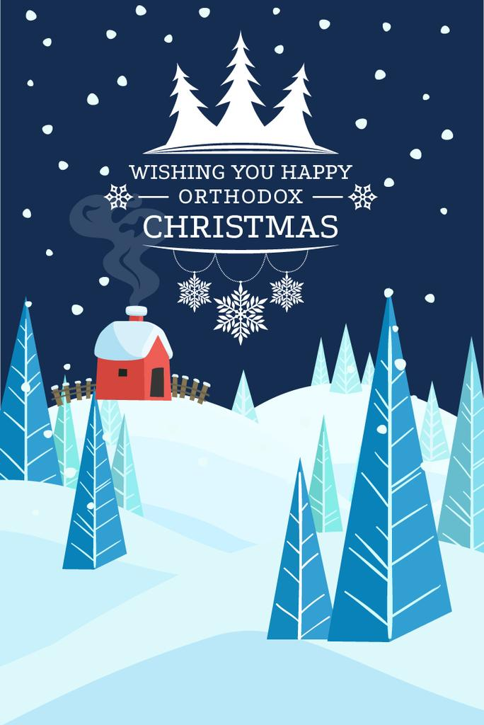 Christmas Greeting Snowy Landscape | Pinterest Template — Create a Design