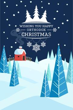 Christmas Greeting Snowy Landscape | Pinterest Template