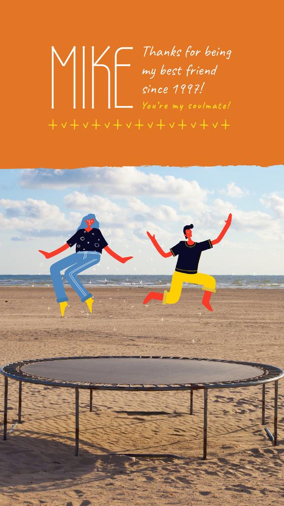 Best Friends Day People Jumping on Trampoline — Maak een ontwerp