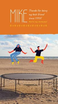 Best Friends Day People Jumping on Trampoline | Vertical Video Template