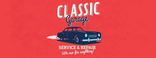 Vintage car on red background Facebook Video cover – шаблон для дизайну