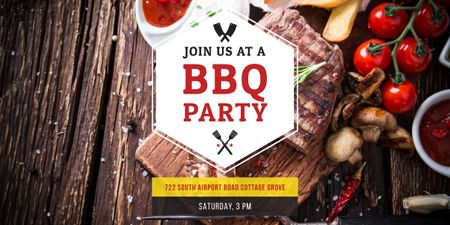 BBQ Party Invitation with Grilled Steak Image Modelo de Design