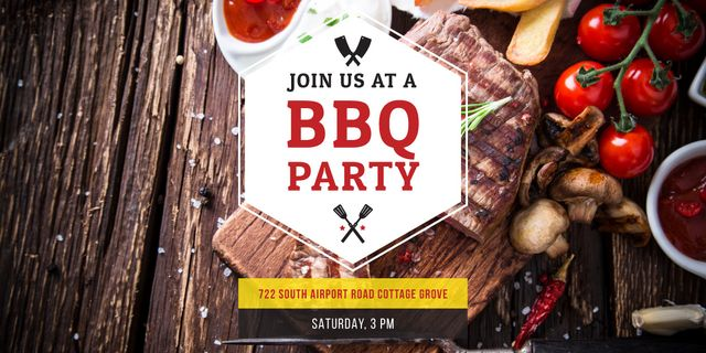BBQ Party Invitation with Grilled Steak Image – шаблон для дизайна