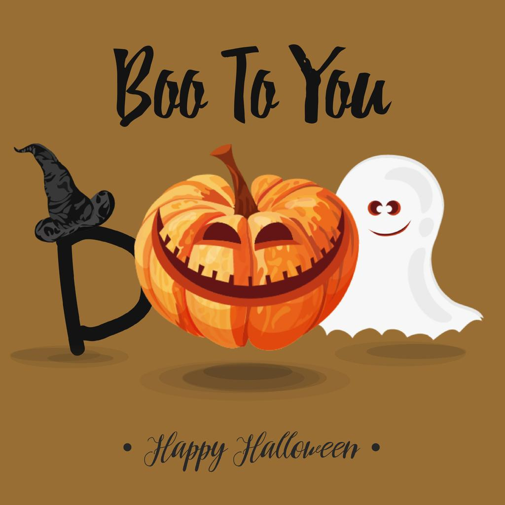 Halloween pumpkin Lantern and Ghost — Maak een ontwerp