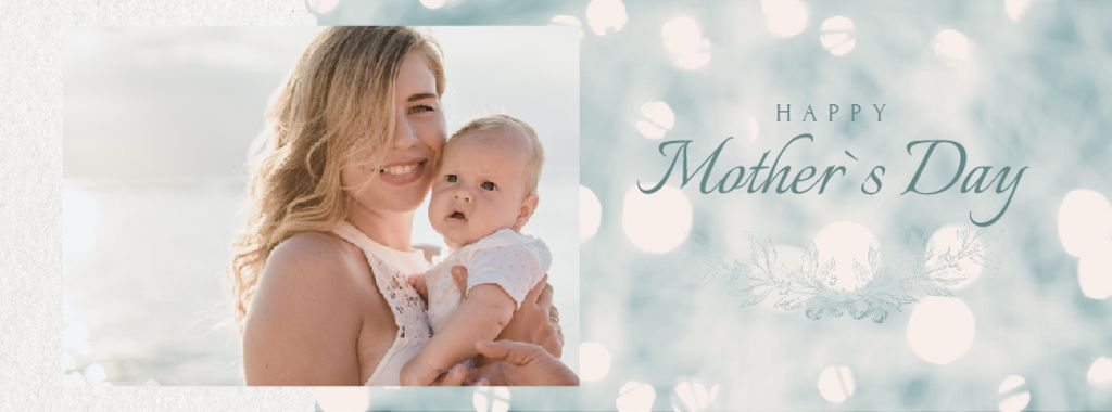 Mother's Day with Mom with Baby by Sea — Crea un design