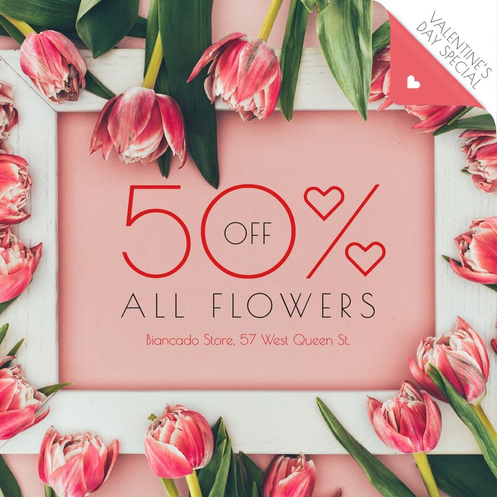 Valentine's Day Offer in Tulip Flowers Frame — Crear un diseño