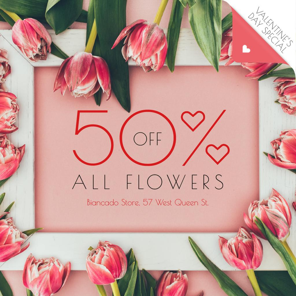Valentine's Day Offer in Tulip Flowers Frame — Créer un visuel