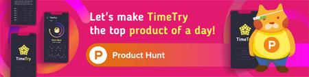 Product Hunt App with Stats on Screen Web Banner Tasarım Şablonu