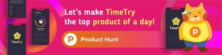 Product Hunt App with Stats on Screen Web Banner – шаблон для дизайна