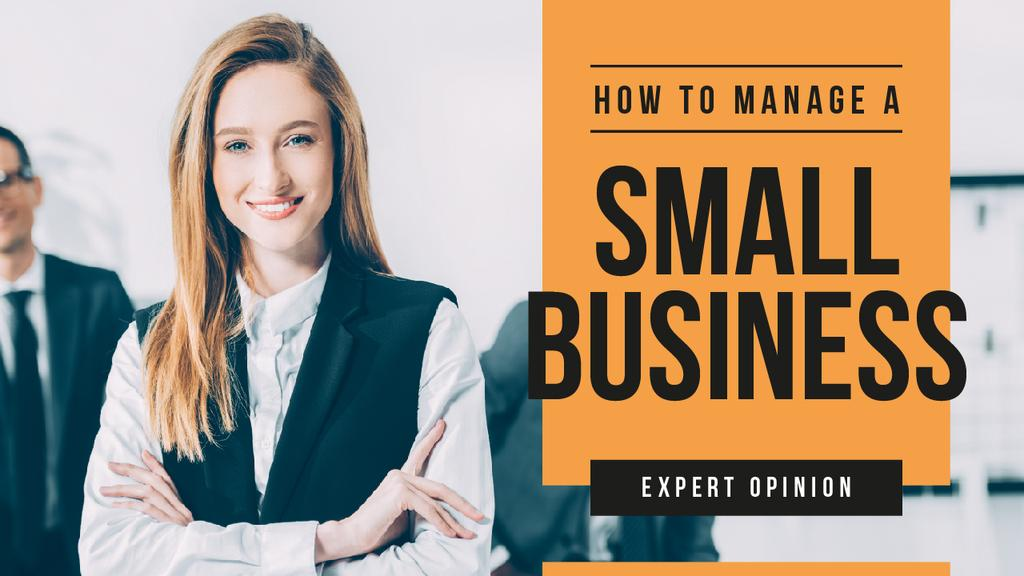 Business Blog Ad Confident Smiling Businesswoman | Youtube Thumbnail Template — Створити дизайн