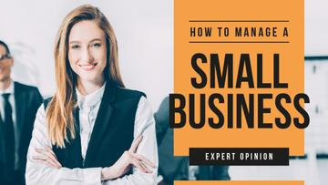 Business Blog Ad Confident Smiling Businesswoman | Youtube Thumbnail Template