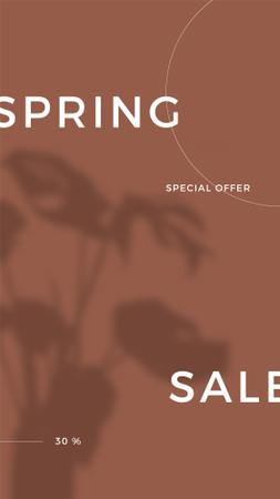 Plantilla de diseño de Spring Sale Special Offer with Shadow of Flower Instagram Story