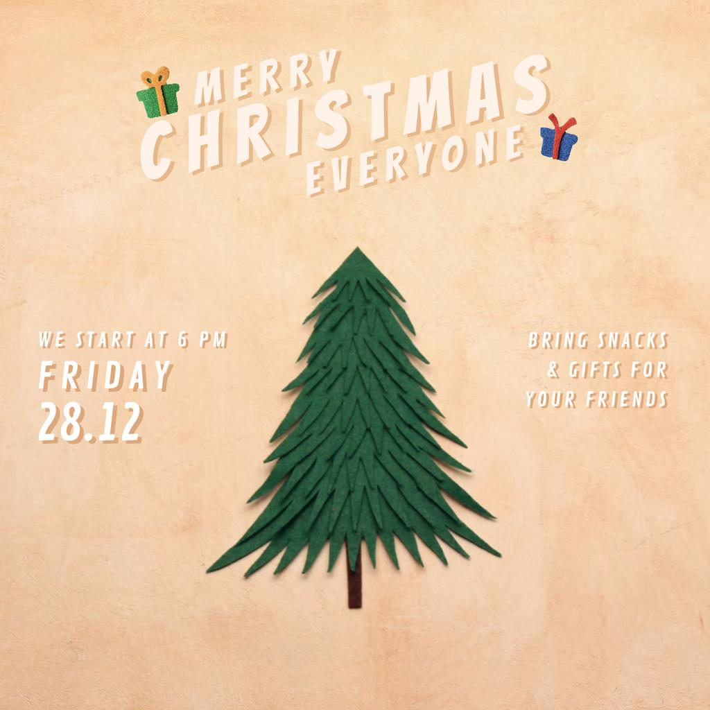 Christmas Invitation with Gifts under Tree — Crear un diseño