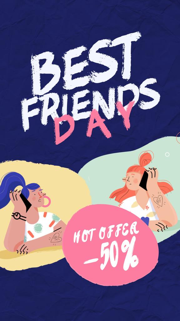 Best Friends Day Offer Girls Talking on Phone — Maak een ontwerp