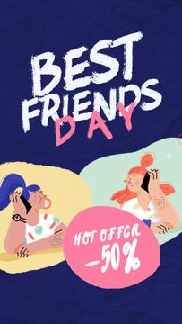 Best Friends Day Offer Girls Talking on Phone | Vertical Video Template