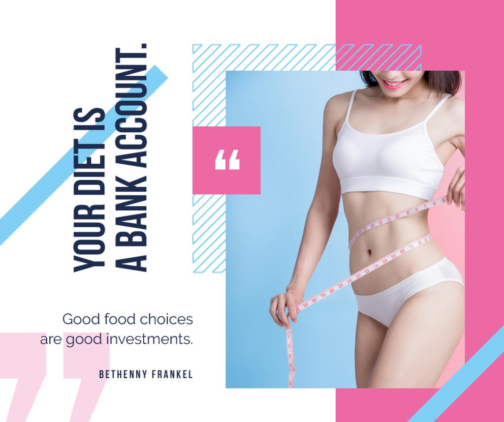 Slim girl measuring herself — Create a Design