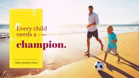 Template di design Father and Son Playing Football at the Beach Title