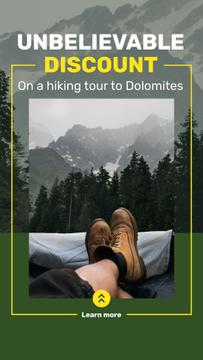 Mountains Hiking Tour Offer Traveler Enjoying View | Stories Template
