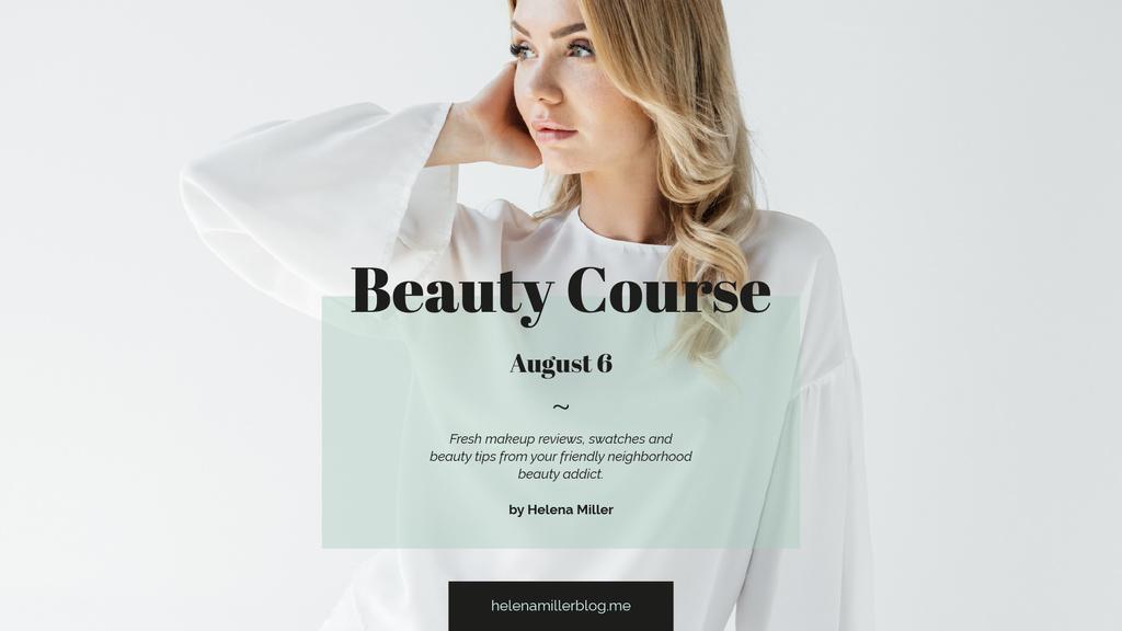 Beauty Course Ad with Attractive Woman in White — Crear un diseño
