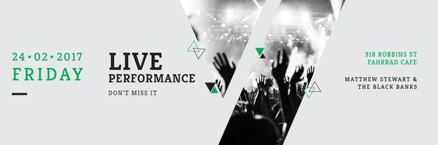 Live Performance Announcement Crowd at Concert  Twitter Design Template
