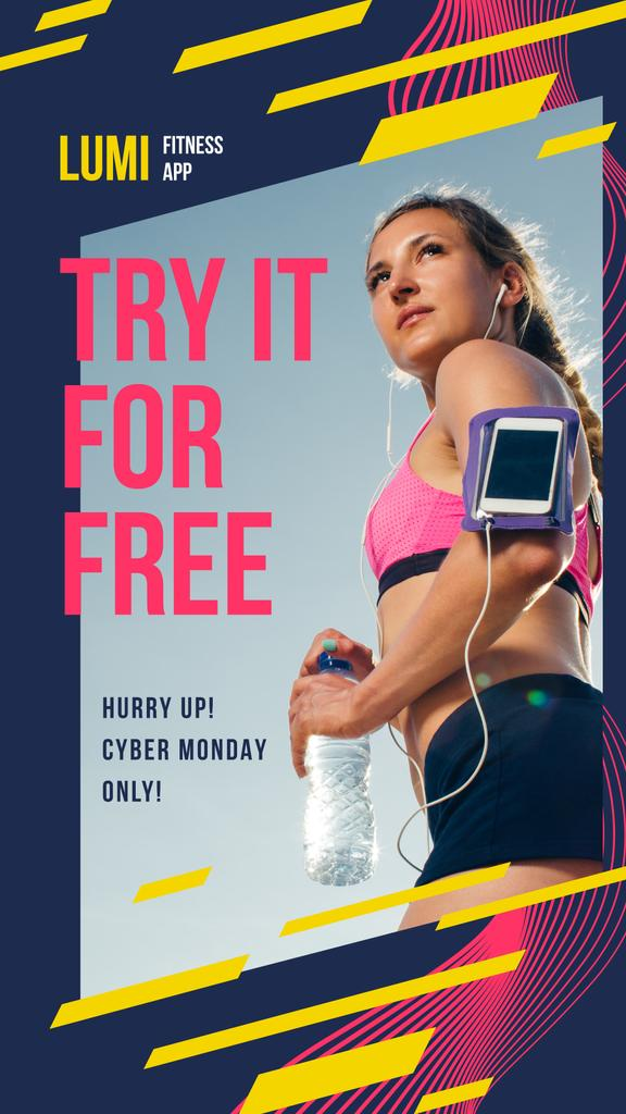 Cyber Monday Offer Woman Running with Smartphone — Crear un diseño