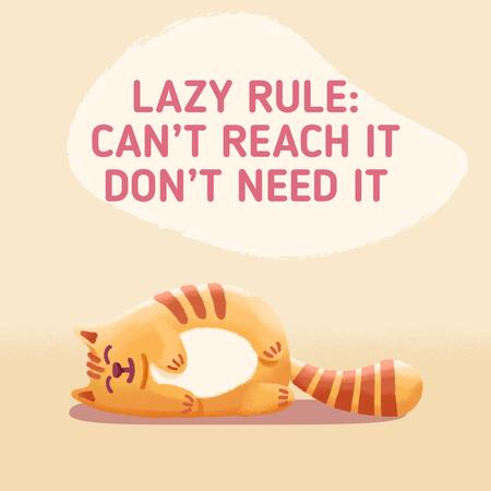 Lazy Cat Lying on Floor Animated Post Modelo de Design